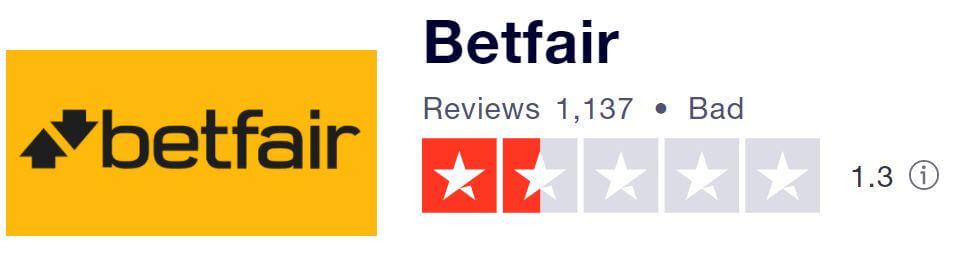 Betfair Casino TrustPilot score