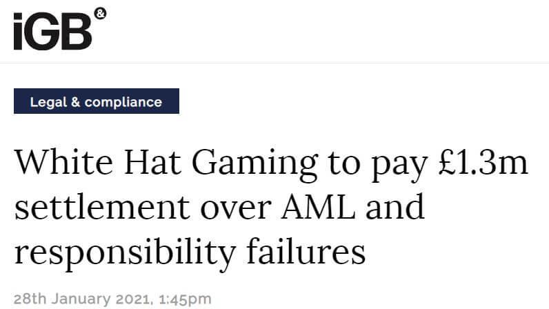 White Hat Gaming's fine in 2021