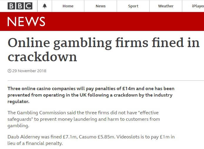 Casumo Casino's fine in 2018