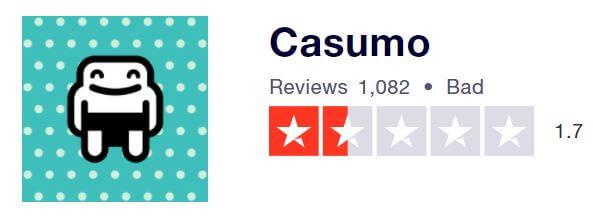 Casumo's TrustPilot score rating